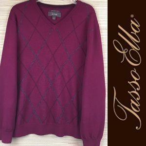 TASSO ELBA Merino Wool Burgundy V-Neck Sweater